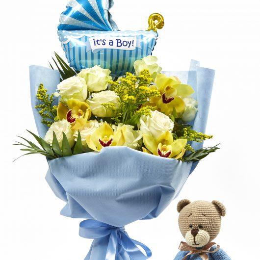 Μπουκέτο Λουλουδιών με Κίτρινα Τριαντάφυλλα